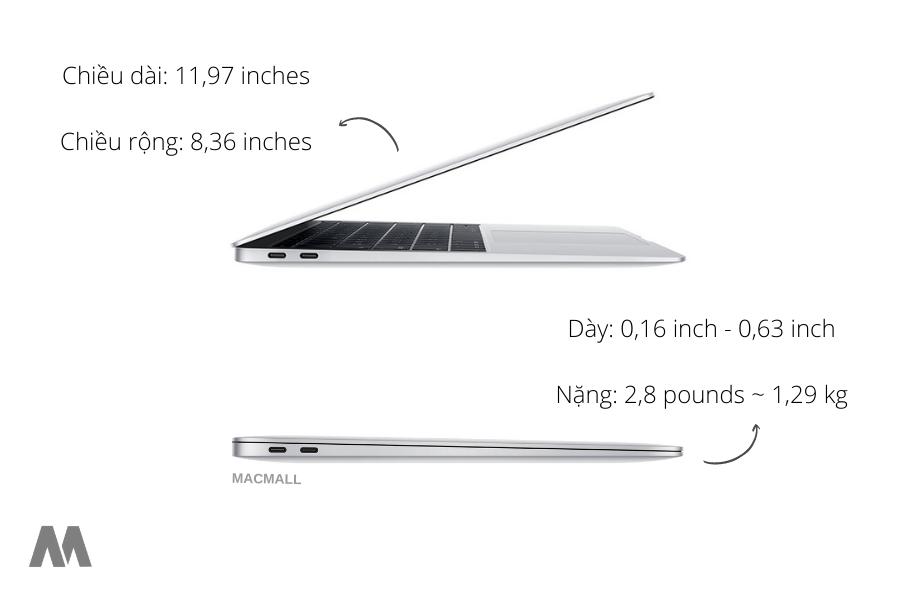 kích thước vô cùng nhỏ gọn của MacBook Air 2020
